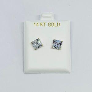 Real 14k Gold Stud Men / Women Earrings 7mm